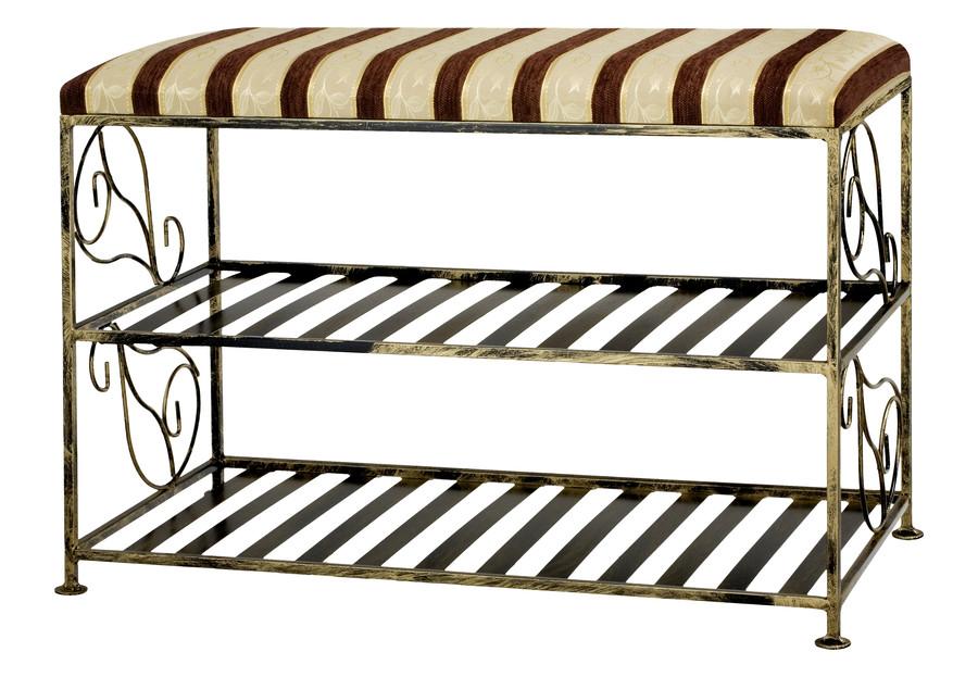 Stilvolle schuhbank aus metall mit 2 ablagefl chen - Bistrotisch mit 2 stuhlen metall ...