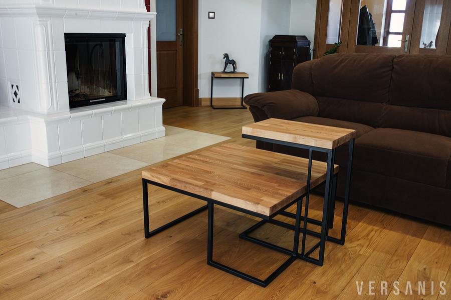 tisch metall mit eichenplatte online kaufen versanis. Black Bedroom Furniture Sets. Home Design Ideas