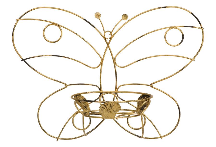 Blumenwandhalter mit Schmetterling Metall